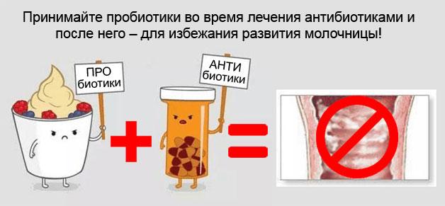 прием пробиотиков одновременно с антибиотиками предохраняет от развития молочницы