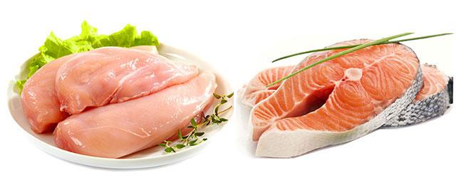филе лосося и курицы