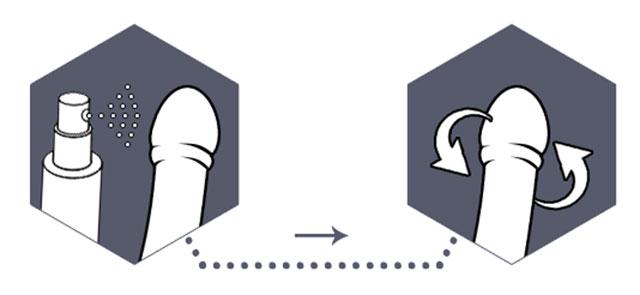 орошение головки полового члена спреем и распределение его по поверхности